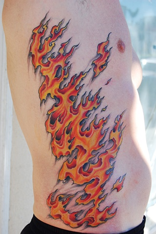 flames on ribs