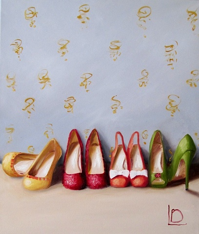 original oil painting of party shoes, in jewel like colours with a luxurious vintage feel, by Brighton artist Linda Boucher