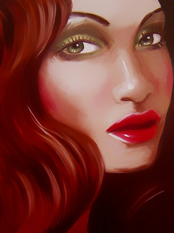 Green with Envy, is an original oil painting of a beautiful woman with vibrant green eyes, by Brighton artist, Linda Boucher