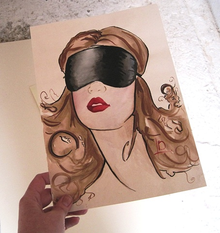 Erotic art watercolour of a woman in a black satin blindfold, with vivid red lips. Original watercolour by Brighton artist Linda Boucher.