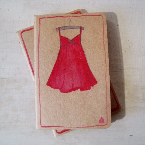 Small pocket sized Moleskine Cahier Journal, by Brighton artist, Linda Boucher. This hand altered journal features a red dress illustration, and is a great Christmas gift. Linda Boucher has been working from her studio in Brighton Seafront Artists Quarter