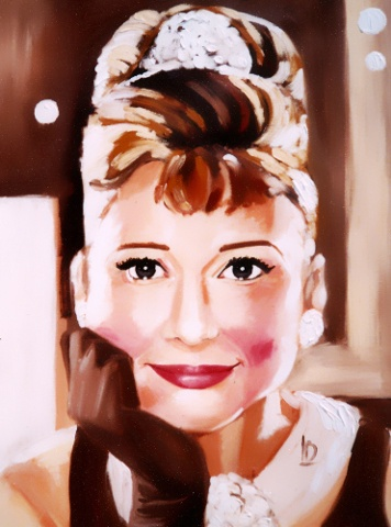 Contemporary portrait of Audrey Hepburn as Holly Golightly in Breakfast at Tiffany's. Oil on Canvas, by Linda Boucher.