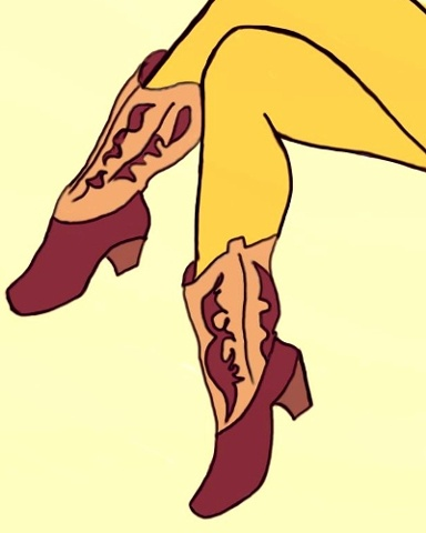 Fifties inspired illustration, with a contemporary twist. Mustard yellow stockings, with well turned cowgirl boots. Illustration for Stocking Tops Art by Linda Boucher