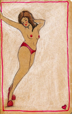 Your private thoughts can be kept in this special Moleskine Cahier journal. Curvaceous nude in red panties illlustrated for Stocking Tops by Linda Boucher.