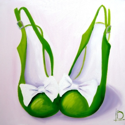 Crisp fresh apple green and white oil painting on canvas of cute shoes with bows by Linda Boucher