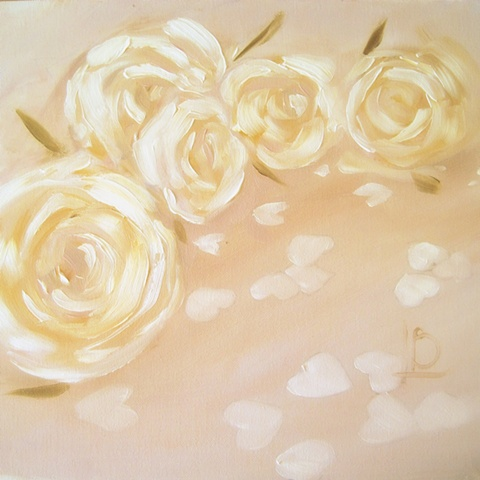 small painting of white rose blooms and heart shaped confetti by Linda Boucher, artist from Brighton