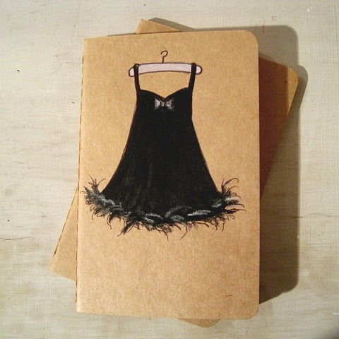 original artwork by Brighton artist Linda Boucher, on the cover of an original Moleskine Cahier Notebook. Saucy lingerie, in sophisticated black