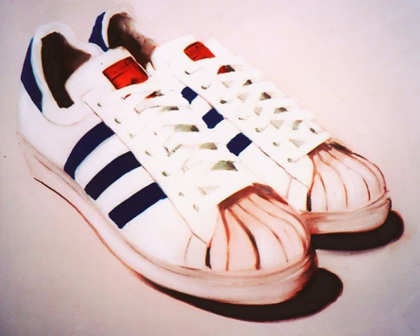 Original oil painting of classic Adidas Superstars with shell toes. White trainers with three blue stripes by Linda Boucher