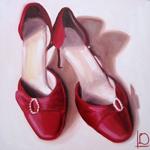 A romantic and beautiful gift, the shoes she wore at your wedding painted in oil on canvas by Brighton Artist Linda Boucher. You can commission a painting of your wife's favourite special shoes this Christmas.