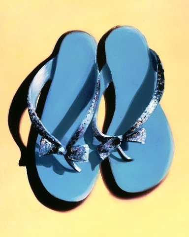 Carolina Blue thongs, with swarovski crystals, and bows on the toe posts, sit on a sandy yellow background. This oil painting is a  gallery wrapped canvas by Linda Boucher