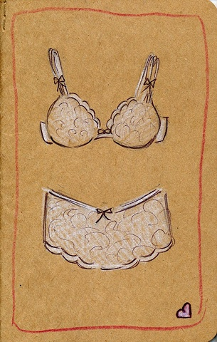 Pretty lace underwear decorates the cover of this unique Moleskine cahier journal. Created by Linda Boucher for her Stocking Tops Art range of fine art prints, originals and gifts.