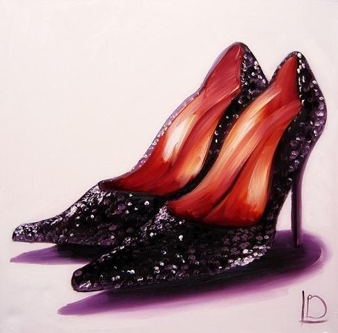 Gorgeous deep purple heels with sparkles, a beautiful oil painting on canvas for women who love shoes.