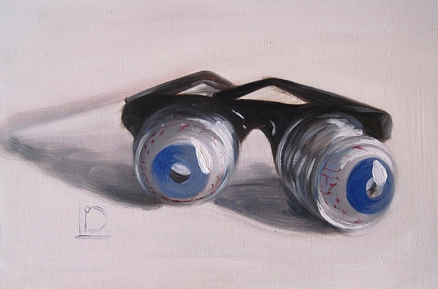 Classic joke shop Googly Eye glasses painted in oils on canvas board by Brighton artist Linda Boucher