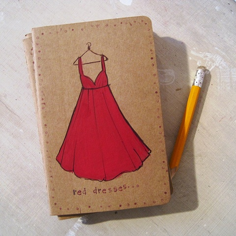 A Red Dress on a little Moleskine Notebook, perfect for your Addresses. hand illustrated journal by Linda Boucher.