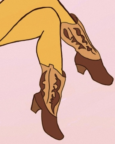 Kicking her heels in a classic pair of cowboy boots, this is a popart illustration inspired by fifties styles. Art by Linda Boucher for StockingTops