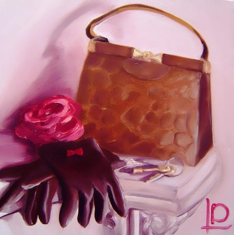 An alligator handbag and kid leather gloves feature in this contemporary still life. An homage to Joan Holloway's style, this is an original oil painting by Linda Boucher