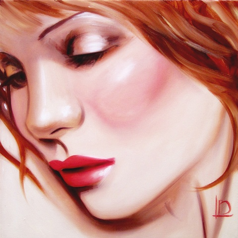 sensual image of a beautiful woman, rendered in artist quality oils, on gallery wrapped canvas by Brighton artist Linda Boucher.