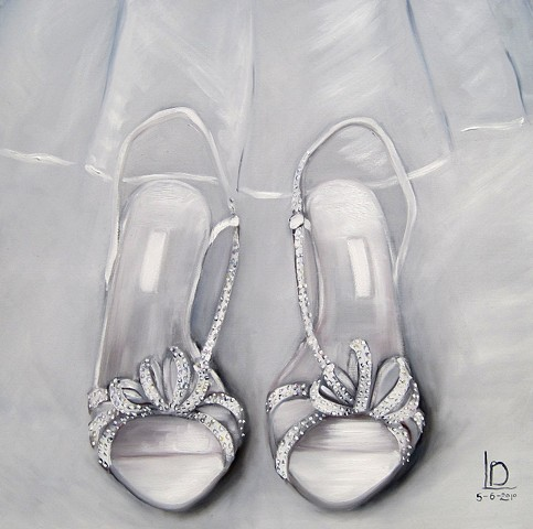 Sparkly swarovski crystal wedding shoes painted with bridal veil and commissioned from Brighton artist Linda Boucher.