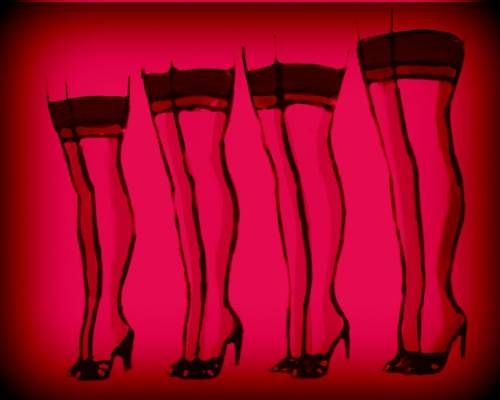 Vintage lingerie ads inspire this contemporary art image. Four pairs of stocking clad legs, create a beautiful and erotic vignette. Art on StockingTops by Linda Boucher