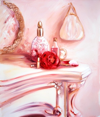 A pretty oil painting featuring a crystal perfume bottle, a powder puff lipstick and a white satin purse.