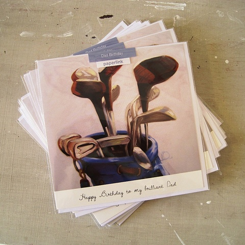 A greetings card for a father's birthday with golf clubs, commissioned and licensed by Paperlink, by Linda Boucher