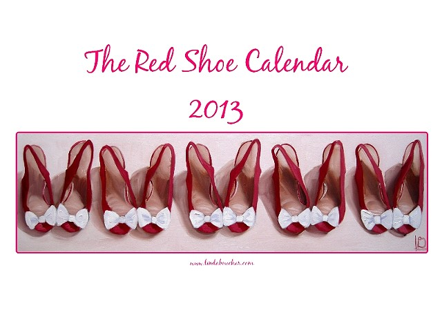 Red shoe calendar 2013 containing 13 mini fine art prints of red shoes by Linda Boucher, Brighton