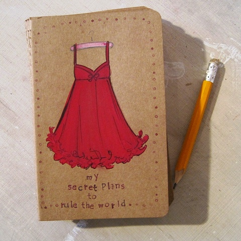 My secret plans to rule the world are really coming to together with the help of this hand illustrated moleskine journal by Linda Boucher.