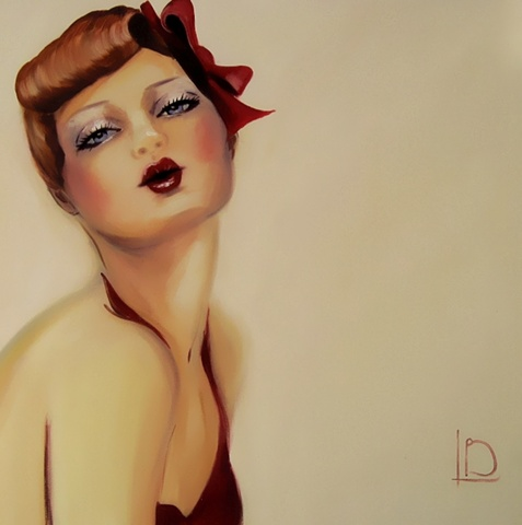 A vintage style female pin up, with cherry red lips, oil on canvas by contemporary artist, Linda Boucher