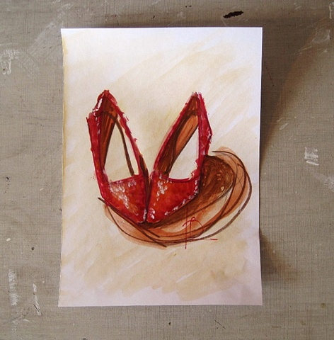 red sparkle heart shoe sketch in watercolour by Brighton artist Linda Boucher.