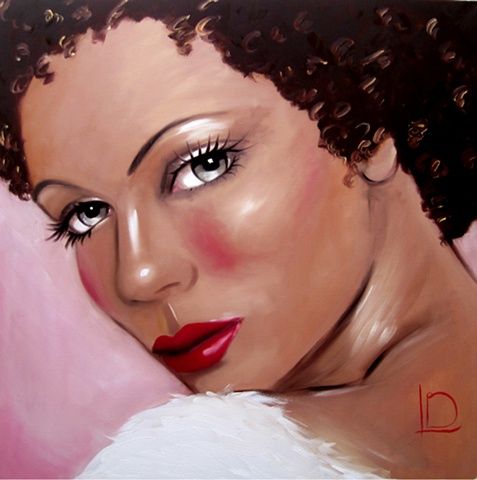 glamourous painting of a gorgeous woman, with golden skin, deep brown hair and a rose pink background by Brighton artist Linda Boucher.