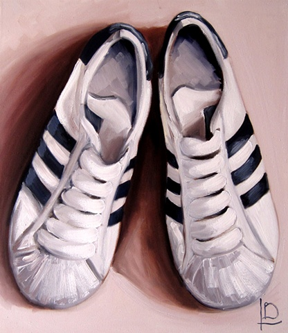 Oil painting of classic adidas superstar shelltoes by Brighton artist Linda Boucher, working from her seafront studio in kings road arches.