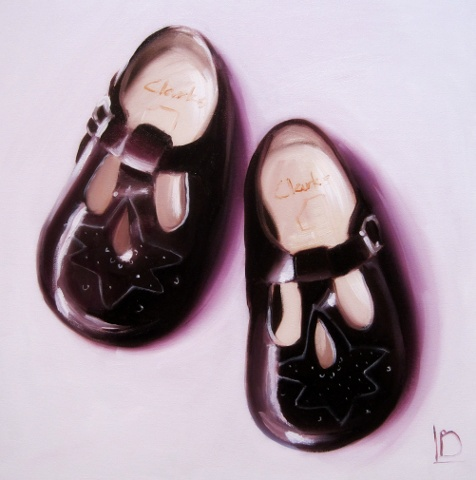 vintage baby shoes from Clarks First Steps range, painted in oils on canvas. Perfect Christening gift, or memento of a precious time.
