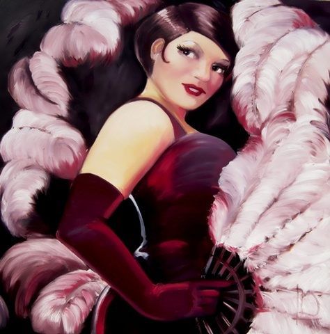 Ostrich feather fan, a purple velvet bodice, and long matching evening gloves bring a burlesque feel to this portrait. Oil on canvas, this painting is by Linda Boucher