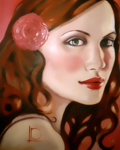 The striking green eyes in this portrait by Linda Boucher captivate the viewer. Oil paint on gallery wrapped canvas