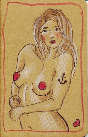 Influenced by saucy postcards, the cover of this unique Moleskine journal features a nude woman, complete with anchor tattoo. By Linda Boucher for the Stocking Tops range.