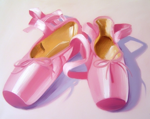These sugar pink satin pointe shoes are a ballet dancers dream. Commission an oil painting on canvas of your dance shoes from the studio of Linda Boucher