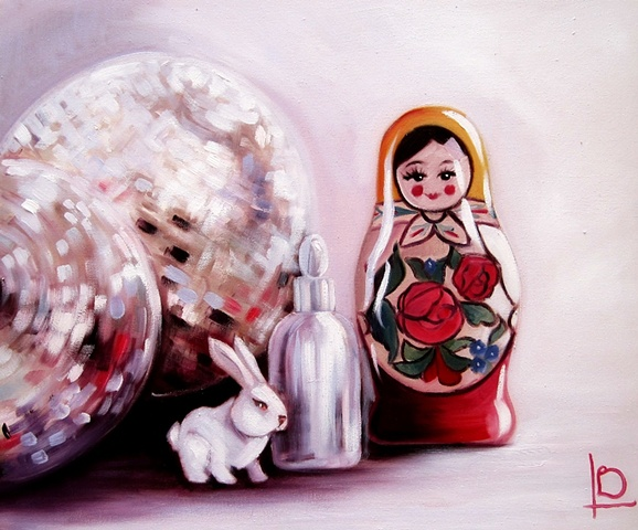 Oil painting of traditional matryoshka russian doll and bunny by Brighton artist Linda Boucher, on gallery wrapped canvas.
