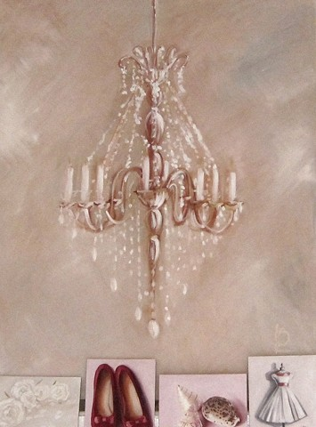 Huge oil painting of a gilded chandelier by Linda Boucher. Perfect for a Brighton Regency home.