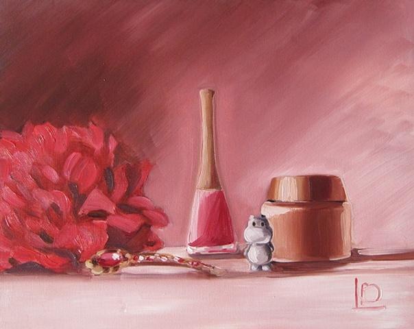 Witty still life of feminine flower, cosmetics, jewellery and a hippo, by Brighton artist Linda Boucher.