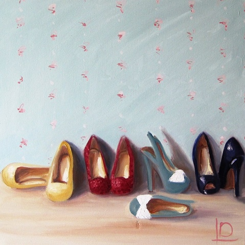 dolly mixture shoes painted on canvas in oils by Brighton artist Linda Boucher