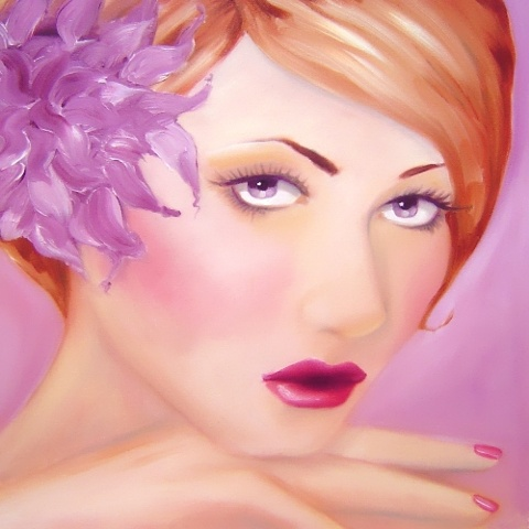 A painting of a beautiful red head, with delicate long eye lashes, long tapered fingers, and a lilac flower in her hair. This original oil on canvas was painted by Linda Boucher, in her Brighton studio.