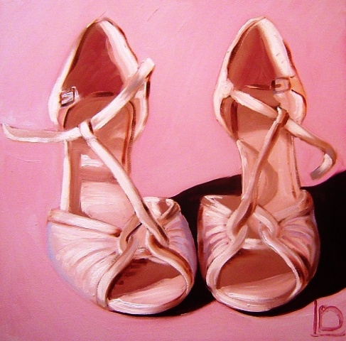 A beautiful gift for a modern bride. A bespoke painting of the bridal shoes, a wonderful reminder of the happiest day of her life. Original Oil on canvas by Linda Boucher