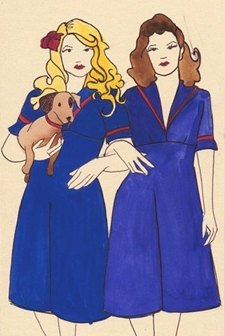 small sketch of two girls dressed in vintage dresses carrying a sausage dog. By Brighton artist Linda Boucher