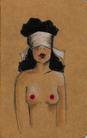 A quirky illustration of a blindfolded woman with deep red lips and raven black hair. A unique Moleskine Cahier journal forming part of the Stocking Tops range by Linda Boucher