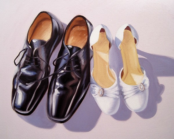 pair of wedding shoes painted in oils commissioned as a gift for bride and groom, from brighton artist linda boucher