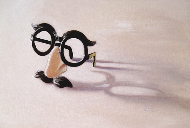 groucho marx joke glasses painted in oils on small format canvas board by Brighton artist Linda Boucher