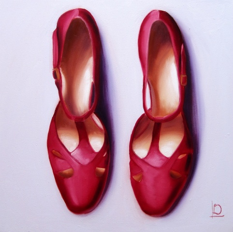 Original oil painting of red t-bar shoes by Brighton Artist Linda Boucher. Deep red coloured shoes, with small golden buckles on a pale lavender coloured background.