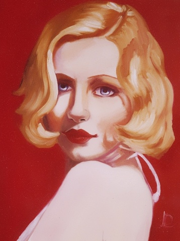 gorgeous blonde bomb shell pinup reminiscent of Marilyn Monroe, this original oil portrait on canvas, was painted by Linda Boucher, Brighton Seafront Artist Quarter member.