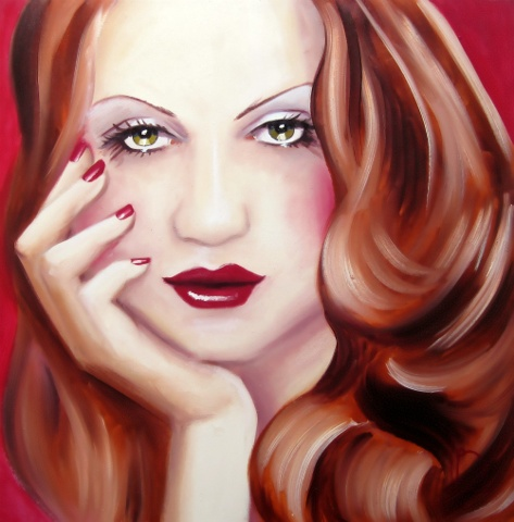 oil on canvas painting of a gorgeous woman with beautiful green eyes, and deep red lips, by Brighton artist Linda Boucher.