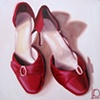 Red Wedding Shoes Oil on Canvas by Linda Boucher